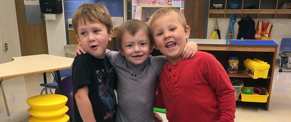 Kindergarteners in Breanna Horton's 'lunch bunch' ham it up for the camera